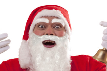 Close up of cheerful Santa Claus over white background