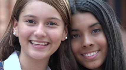 Pretty Teen Girls Smiling