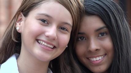 Pretty Female Teens Smiling