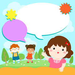 Blank template character smiley kid on the yard vector.