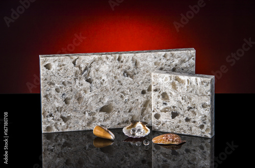marble or granite kitchen countertops samples on black