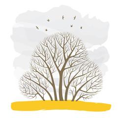 Осенняя иллюстрация с группой деревьев на фоне неба и летающих птиц.