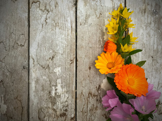 Flowers styled on the other side of image. Rustic wooden table. Grunge and old cracking white paint on surface.