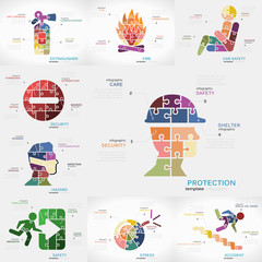 Safety infographics pack with Protection, Extinguisher, Fire, Car Safety, Security, Hazard, Stress, and Accident puzzle illustrations