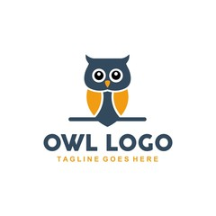 Acrylic Prints Owls cartoon Unique owl logo with minimalist shapes and colors