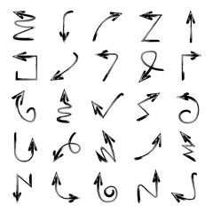 set of doodle arrows