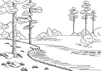 Forest river graphic black white landscape sketch illustration vector