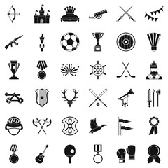 Medal icons set, simple style