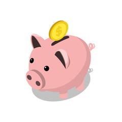 Piggy bank and gold coin isometric vector