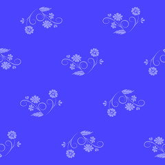 blue floral background. vector seamless pattern