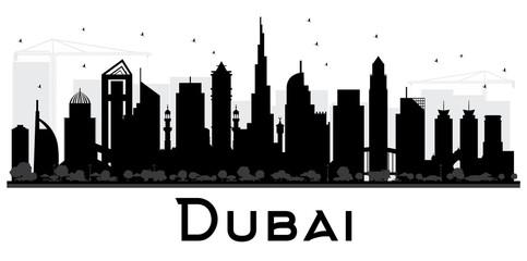 Dubai UAE City skyline black and white silhouette.