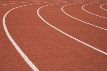 Athletic Track or Running Track, White Solid Curved Lines, Isolated View