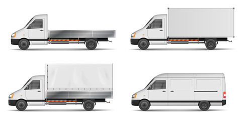 Set of realistic white cargo vehicles. vector illustration with heavy truck, trailer, lorry, Mini bus, delivery van isolated. Side view mockup.