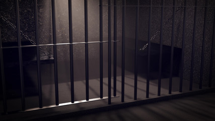 3D Render of locked prisoncell for two person with beds.