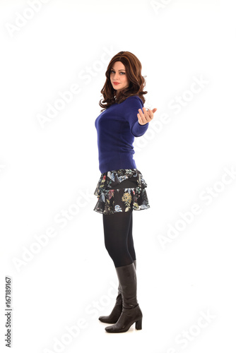 266e866a540 full length portrait of brunette woman wearing modern casual clothes.  standing pose, isolated on white background