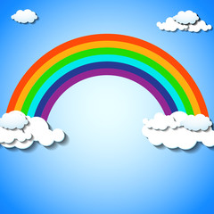Abstract colorful rainbow with clouds. Vector illustration. Eps 10