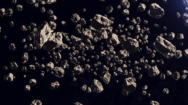 A lot of asteroids in a far off orbit