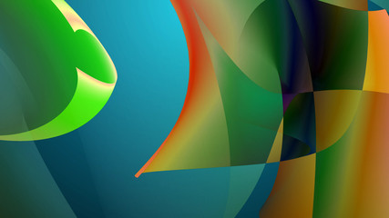 Abstract colorful shapes swirl and light