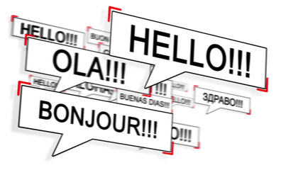 Speech bubble with HELLO in differents language.