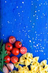 Food frame. Pasta ingredients.  Italian food cooking. Top view. Copy space.