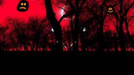 Graveyard with creepy trees on Halloween