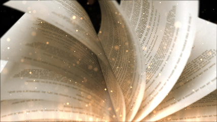 open book with turning pages