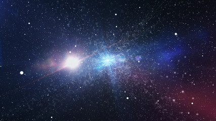 3d rendering of Abstract stars in outer space