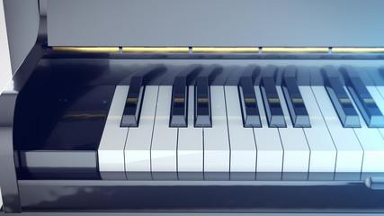 Beautiful Grand Piano Keys with mirror reflections