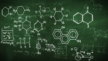 Chemical class green blackboard.