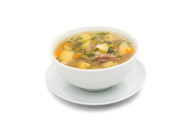 Plate with chicken soup