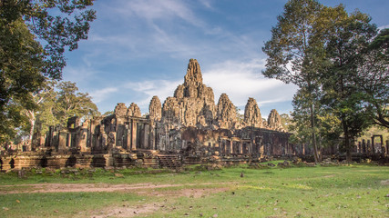 Bayon temple. the ancient stone temple. Bayon is one of the UNESCO world heritage at AnPrasat Bayon temple, Angkor Thom , is popular tourist attraction in Siem reap, Cambodiagkor in Cambodia