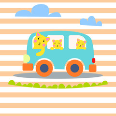 Cat family in hipster van vector illustration for kid apparel tee print.
