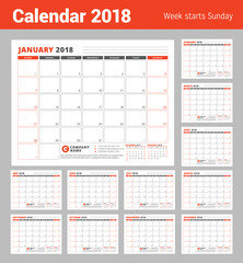 Calendar Planner Template for 2018 year. Business Planner Template. Stationery Design. Week starts on Sunday. Vector Illustration