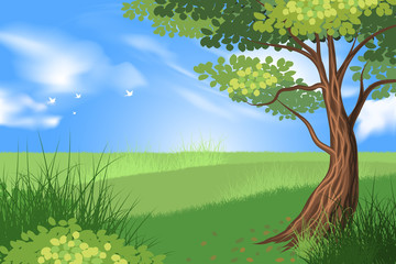 Beautiful tree and green grass scene vector nature landscape background