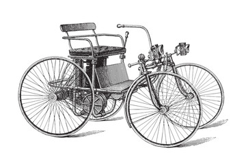 Old motor vehicle - vintage illustration