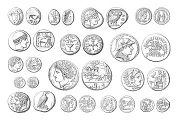 Ancient coins collection (roman and greek) - vintage illustration