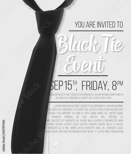 illustration of realistic vector white shirt black tie event