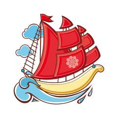 little sailboat. Children's toy.