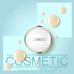 compact foundation and a drop of the design template advertising cosmetics 3d. Top view on a blue background realistic illustration of a packaging design cream.