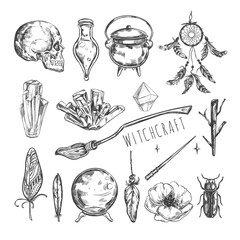 Vecto Hand drawn Magic set. Isolated objects on white. Halloween