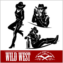Wall Murals Music Band Silhouettes of Western Cowgirls. Vector Illustration