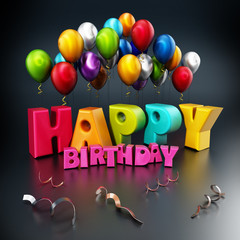 Happy birthday text and party balloons. 3D illustration