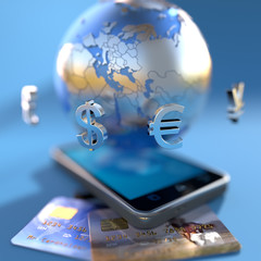 Global ecommerce mobile design concept and credit cards