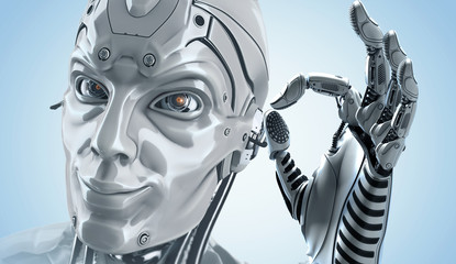 A head of highly detailed robot