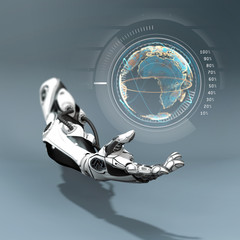 Futuristic concept of robotic arm with virtual globe above