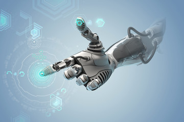 Robotic bionic arm manipulating digital interface pointing symbol with index finger