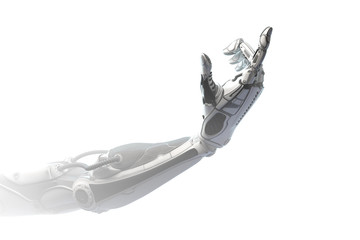 Robotic arm showing number one using fingers