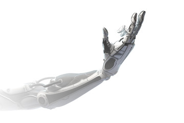 Robotic arm showing number two using fingers