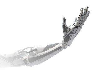 Robotic arm showing number three using fingers