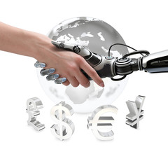 Human and robot handshake business currency symbols